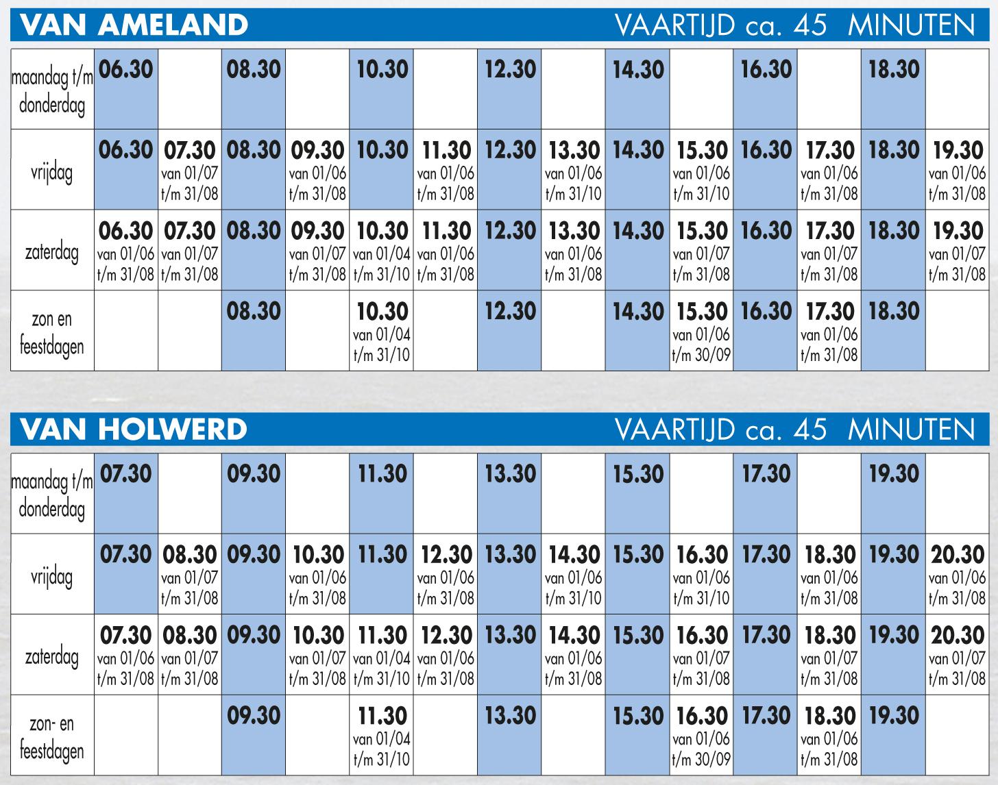 Boottijden Wagenborg Holwerd - Ameland v.v.